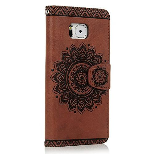 S7 Case,Galaxy S7 Case - Wallet Magnetic Flip PU Leather Holders Soft TPU Inner Hand Strap &