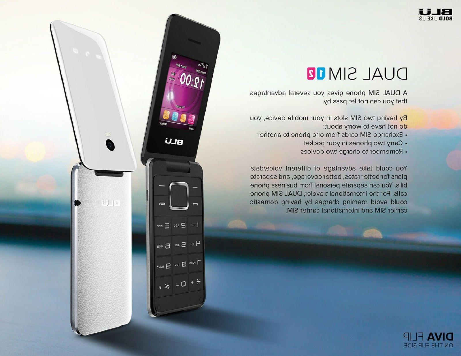 Unlocked Cell phone Sim Diva 1.8'' 2G Flip Cell phone