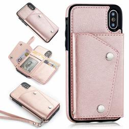 Leather Card Case Buckle Wallet Flip Strap Cover iPhone 11 X