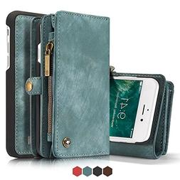 Leather Wallet Magnetic Phone Case Detachable Case with Card