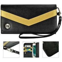 Luxury Flip Wallet Leather Pouch Purse Strap Case Cover for