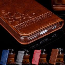 Luxury Leather Flip Wallet Phone Case Cover Stand for Apple