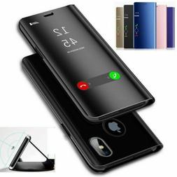 Luxury Mirror Clear View Flip Phone Case For HUAWEI Mate 20