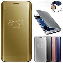 Mirror Luxury Plating Clear View Flip Folio Phone Case Slim