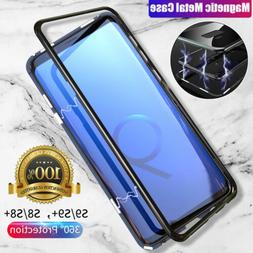 Magnetic Adsorption Tempered Glass Flip Phone Case Built-in