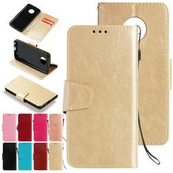 Magnetic Slim Leather Skin Card Flip Phone Case Cover for Mo