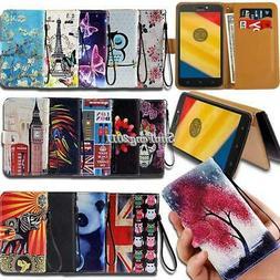 For Motorola Moto E E3 E4 E5 E6 Flip Leather Card Wallet Sta
