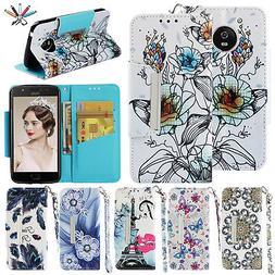 For Motorola Moto E4 Phone Cover Magnetic Pattern Leather Fl