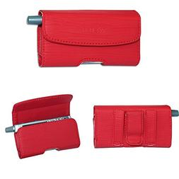 Red Horizontal Leather Case for at&T Alcatel Cingular Flip 2