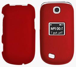 RED RUBBERIZED HARD SHELL CASE COVER FOR LG REVERE-3 VN170 /