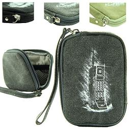 Retro Soft Canvas Carrying Case for Jitterbug Flip Cell Phon