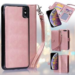 Rose Gold PU Flip Wallet Cover Case for iPhone Xs Xs Max/Sam