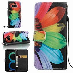 S8 Case, Galaxy S8 Wallet Case, Jeccy  Slim PU Leather Flip