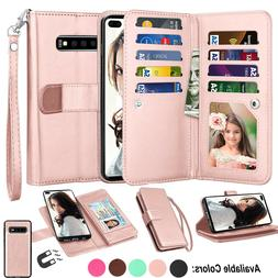 For Samsung Galaxy S10 S9 S8 S7 S20 Plus Note 10+ Leather Wa