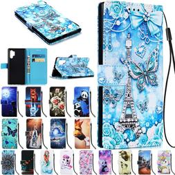For Samsung Galaxy S9 S10 Note 10 Pro Pattern Wallet Flip St