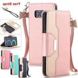 Samsung Galaxy S9 S8 S7 Note 10+ S20 Wallet Case Leather Sta