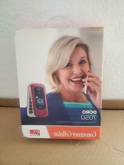 SEALED CONSUMER CELLULAR DORO 7050 RED FLIP PHONE