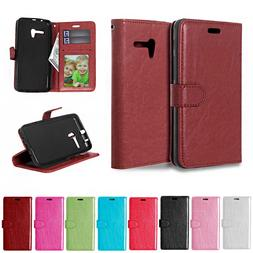 Solid color Leather Cover For <font><b>Alcatel</b></font> <f