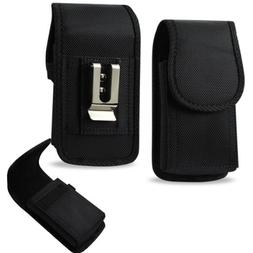 Vertical Canvas Case with Velcro Closure with Belt Clip and