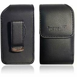 Vertical Reiko Leather Pouch Holster Flip Phone Belt Case Fi
