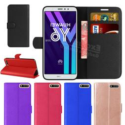 For Huawei Y6 2018 Phone Case Luxury Leather Magnetic Flip W