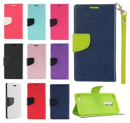 For ZTE Blade X Max Premium Leather 2 Tone Wallet Case Pouch