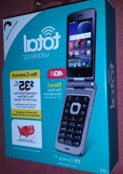 Total Wireless ZTE Cymbal T 4G Prepaid Flip Touchscreen Smar