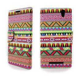 For ZTE ZMax Wallet Card Case - Tribal Aztec Design Flip Fol